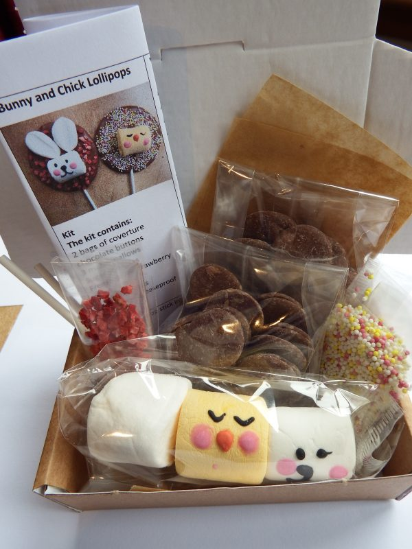 Inside the box of chick and bunny lollipop kitd bunny