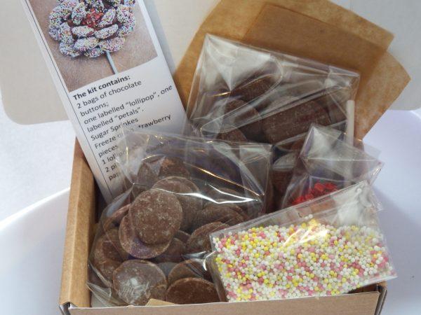 inside the chocolate flower making kit