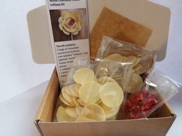Inside the box of the white chocolate flower kit