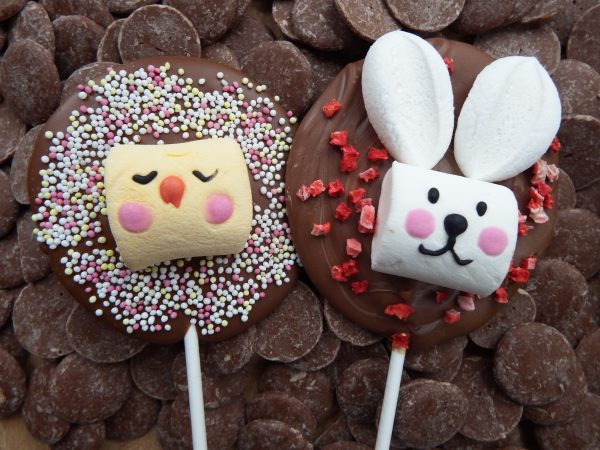 milk chocolate chick and bunny lollipops