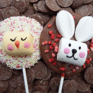 white chocolate easter chick and milk chocolate bunny lollipops