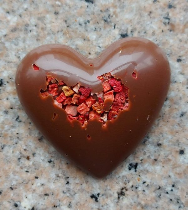 Chocolate Heart with strawberry pieces